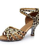 זול שמלות נשים-בגדי ריקוד נשים נעליים לטיניות סטן / דמוי עור סנדלים / עקבים שחבור עקב מותאם מותאם אישית נעלי ריקוד כסף / נמר / עירום / בבית
