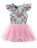 baratos Vestidos para Bebês-bebê Para Meninas Feriado Floral Com Transparência / Patchwork / Estampado Manga Curta Algodão Vestido / Fofo / Bébé