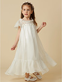 cheap Flower Girl Dresses-Princess Ankle Length Flower Girl Dress - Chiffon / Lace Short Sleeve Scoop Neck with Lace by LAN TING BRIDE®