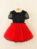 tanie Sukienki dla dziewczynek-Brzdąc Dla dziewczynek Aktywny Impreza / Wyjściowe Solidne kolory Łuk Krótki rękaw Bawełna / Poliester Sukienka Czerwony 100 / Śłodkie
