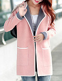 cheap Women's Coats & Trench Coats-Women's Stylish Coat-Solid Color,Vintage Style V Neck