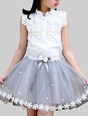 Χαμηλού Κόστους Σετ ρούχων για κορίτσια-Παιδιά Κοριτσίστικα χαριτωμένο στυλ Καθημερινά Σχολείο Φλοράλ Patchwork Δαντέλα Αμάνικο Κανονικό Ρεϊγιόν Πολυεστέρας Σετ Ρούχων Λευκό