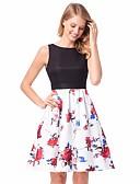 tanie W stylu vintage-Damskie Vintage Szczupła Spodnie - Kwiaty Odkryte plecy Niebieski / Z odsłoniętymi ramionami / Wzory kwiatów