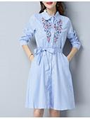זול שמלות נשים-צווארון חולצה מעל הברך אחיד - שמלה סווינג רזה ליציאה בגדי ריקוד נשים / אביב