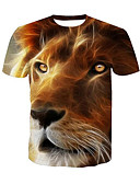cheap Men's Tees & Tank Tops-Men's Active T-shirt - Animal Lion, Print Round Neck / Short Sleeve