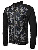 ieftine Tricou Bărbați-Bărbați Zilnic / Sport Activ Primăvară / Toamnă Regular Jachetă, camuflaj Stand Manșon Lung Bumbac / Poliester Albastru piscină / Roșu-aprins / Verde Militar L / XL / XXL