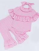 ieftine Set Îmbrăcăminte Bebeluși-Bebelus Fete Casual Zilnic Dungi Manșon scurt Bumbac Set Îmbrăcăminte Roz Îmbujorat 59