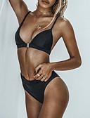 tanie Bikini i odzież kąpielowa 2017-Damskie Podstawowy Trójkątny Pasek Bikini - Odkryte plecy, Solidne kolory Dół typu Cheeky / Super seksowny