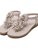 cheap Women's Jumpsuits & Rompers-Women's Shoes PU(Polyurethane) Spring / Summer Comfort / Novelty Sandals Flat Heel Cap-Toe Black / Almond