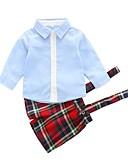tanie Koszulki i tank topy męskie-Dziecko Dla chłopców / Dla dziewczynek Casual Codzienny Solidne kolory / Kratka Długi rękaw Bawełna / Poliester Komplet odzieży Jasnoniebieski 90