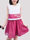 cheap Girls' Dresses-Girl's Daily Patchwork Dress, Rayon Summer Sleeveless Cute Blue Red