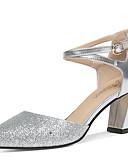 abordables Vestidos de Madrina-Mujer Zapatos Brillantina Verano / Otoño Gladiador / Pump Básico Tacones Tacón Cuadrado Dorado / Plata / Fiesta y Noche