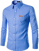 cheap Men's Shirts-Men's Work Slim Shirt - Plaid Print Spread Collar / Long Sleeve