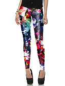 cheap Leggings-Women's Going out Basic Legging - Rainbow, Print Mid Waist