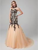 baratos Vestidos de Noite-Sereia Gola Alta Cauda Corte Renda / Tule Transparente / Color Block Evento Formal Vestido com Apliques / Renda de TS Couture®