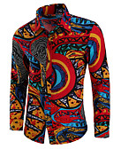 baratos Camisetas & Regatas Masculinas-Homens Camisa Social Temática Asiática Floral
