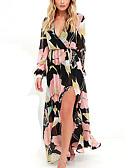 cheap Women's Swimwear & Bikinis-Women's Plus Size Going out / Work Street chic / Punk & Gothic Slim Sheath / Chiffon Dress - Floral Maxi V Neck / Summer / Fall / Floral Patterns