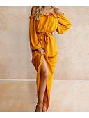 preiswerte Maxi-Kleider-Damen Schlank Hülle Kleid Solide Asymmetrisch Halter Hohe Taillenlinie / Sexy