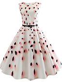 cheap Vintage Dresses-Women's Daily / Holiday Vintage Slim Sheath Dress - Floral High Waist Summer Cotton White L XL XXL / Sexy
