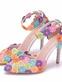 זול חליפות שני חלקים לנשים-בגדי ריקוד נשים נעלי חתונה עקב סטילטו בוהן מחודדת אבזם PU נוחות / חדשני אביב / סתיו קשת / EU41