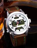 cheap Sport Watches-Men's Couple's Casual Watch Fashion Watch Dress Watch Japanese Quartz 30 m Water Resistant / Water Proof Calendar / date / day Chronograph Leather Band Analog-Digital Luxury Fashion Brown - White Red