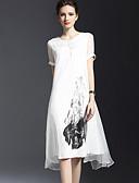 Χαμηλού Κόστους Γυναικεία Φορέματα-Γυναικεία Εξόδου Βασικό Φαρδιά Σε γραμμή Α Φόρεμα - Φλοράλ, Στάμπα Ως το Γόνατο