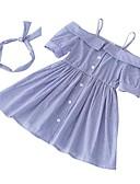tanie Sukienki dla dziewczynek-Brzdąc Dla dziewczynek Podstawowy Codzienny Solidne kolory Krótki rękaw Jedwab wiskozowy Sukienka Niebieski 100