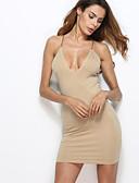 זול שמלות נשים-כתפיה מעל הברך דפוס, אחיד - שמלה צינור בגדי ריקוד נשים