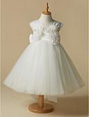 hesapli Çiçekçi Kız Elbiseleri-A-Şekilli sapanlar Diz Boyu Saten / Tül Kurdeleler / Çiçekli ile Çiçekçi Kız Elbisesi tarafından LAN TING BRIDE®