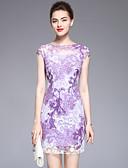 זול שמלות נשים-מעל הברך אחיד פרחוני - שמלה צינור בסיסי בגדי ריקוד נשים