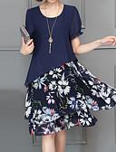 זול שמלות נשים-מעל הברך דפוס, פרחוני - שמלה גזרת A משוחרר מידות גדולות סגנון רחוב / מתוחכם חגים בגדי ריקוד נשים / קיץ