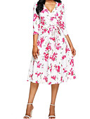 cheap Women's Dresses-Women's Going out Basic Street chic Slim Shift Tunic Dress - Floral White V Neck