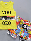 tanie Sukienki dla dziewczynek-Brzdąc Dla chłopców Aktywny Codzienny Nadruk Nadruk Bez rękawów Regularny Regularny Poliester Komplet odzieży Biały 100