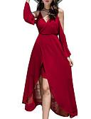 preiswerte Damen Kleider-Damen Festtage Schlank Hülle Kleid Solide Asymmetrisch V-Ausschnitt Schulterfrei