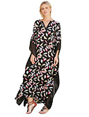 cheap Print Dresses-Women's Holiday / Going out Boho Maxi Loose Swing Dress - Floral V Neck Spring Black Pink Navy Blue One-Size