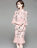 זול שמלות נשים-מידי תחרה רקום, פרחוני - שמלה צינור שרוול התלקחות בסיסי בגדי ריקוד נשים