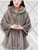 cheap Women's Fur Coats-Women's Basic Loose Fur Coat-Solid Colored