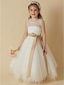 זול שמלות לילדות פרחים-נסיכה באורך הקרסול שמלה לנערת הפרחים - תחרה / סאטן / טול ללא שרוולים סקופ צוואר עם פפיון(ים) / סרט על ידי LAN TING BRIDE®