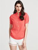 baratos Vestidos de Mulher-Mulheres Blusa Casual Sólido Colarinho Chinês / Verão