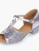 preiswerte Bauchtanzkleidung-Mädchen Schuhe für den lateinamerikanischen Tanz Glitzer / Paillette / PVC Leder Absätze Niedriger Heel Maßfertigung Tanzschuhe Gold /