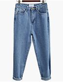 abordables Pantalones para Mujer-Mujer Básico Vaqueros Pantalones - Un Color Alta cintura Azul Piscina