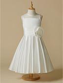 cheap Bridesmaid Dresses-A-Line Tea Length Flower Girl Dress - Taffeta Sleeveless Jewel Neck with Flower by LAN TING BRIDE®