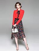 זול חליפות שני חלקים לנשים-צווארון חולצה חצאית דפוס, פרחוני - חולצה רזה בסיסי חגים / ליציאה בגדי ריקוד נשים