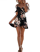 cheap Women's Sexy Clothing-Women's Beach Holiday Street chic Slim Bodycon Dress - Floral Black High Waist Mini Off Shoulder