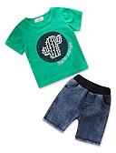 tanie Sukienki dla dziewczynek-Brzdąc Dla chłopców Aktywny / Podstawowy Codzienny / Wyjściowe Solidne kolory / Nadruk Nadruk Krótki rękaw Regularny Regularny Bawełna / Poliester Komplet odzieży Zielony 100