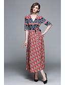tanie Sukienki-Damskie Podstawowy Spodnie - Geometric Shape Nadruk Czerwony / Maxi / W serek / Wyjściowe
