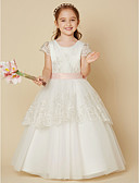 cheap Flower Girl Dresses-A-Line Floor Length Flower Girl Dress - Lace / Tulle Short Sleeve Jewel Neck with Appliques / Bow(s) / Sash / Ribbon by LAN TING BRIDE®
