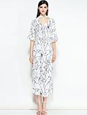 tanie Suknie i sukienki damskie-Damskie Wyjściowe Boho / Moda miejska Szczupła Linia A Sukienka - Geometryczny Midi / Wiosna / Lato