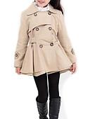 tanie Kurtki i płaszcze dla dziewczynek-Dzieci Dla dziewczynek Solidne kolory Długi rękaw Długie Poliester Trenczy Różowy 140