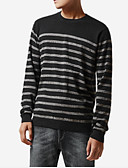 זול טישרטים לגופיות לגברים-פסים - סוודר שרוול ארוך צווארון עגול בגדי ריקוד גברים
